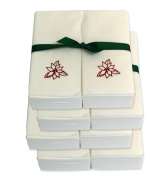 Disposable Guest Hand Towels with Ribbon - Embossed with a Red Poinsettia - 200ct