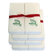 Disposable Guest Hand Towels with Ribbon - Embossed with Green Holly Leaves - 200ct