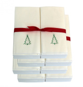 Disposable Guest Hand Towels with Ribbon - Embossed with a Green Christmas Tree - 200ct