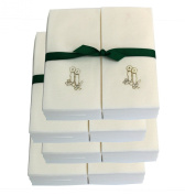 Disposable Guest Hand Towels with Ribbon - Embossed with Silver Candles - 200ct