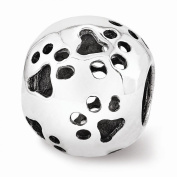 Sterling Silver Reflections Paw Prints Bead