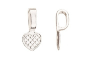 Grid Heart Silver Plated Glue-On Bail 10.3x21.5mm sold per pack of 10