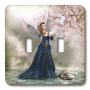 3dRose lsp_172916_2 Fairy hold a butterfly in her hand on a fantasy landscape - Double Toggle Switch
