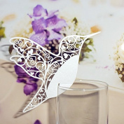 50 White Humming Birds Wedding Table Name Place Cards Wine Glass Party Decoration Favour