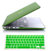 Candance(TM) Hard Case Cover for Apple MacBook Air 34cm A1369 / A1466 AIR 33cm /Rubberized QuickSand Surface Hard Shell Case Cover for 2014 New Macbook Air 33cm 34cm A1369 & A1466 with Silicone Keyboard Cover Skin Stickers Protector QuickSand Green ..