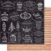Country Cookin' Double-Sided Cardstock 30cm x 30cm -Blackboard