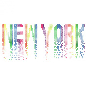 Hand-made Rhinestone Hot Fix Motif Fashion Design New York Wave Fluorescent Deco 1 Sheets