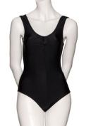 Girls Ladies Black Dance Gymnastics Sleeveless Shiny Lycra Ruche Leotard All Sizes KDC006 By Katz Dancewear