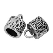 Pack Of 10 x Antique Tibetan Silver 8mm Kumihimo Patterned End Caps - (HA06910) - Charming Beads