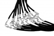 Find-Its Black Satin Cords with Silver Lobster Clasp, 50cm