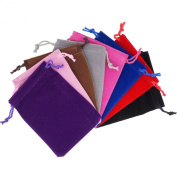 Pack of 8 Mix Colour Soft Velvet Pouches w Drawstrings for Jewellery Gift Packaging, 9x12cm