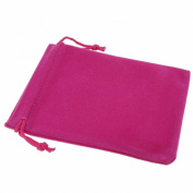 Pack of 12 Fuchsia Colour Soft Velvet Pouches w Drawstrings for Jewellery Gift Packaging, 9x12cm