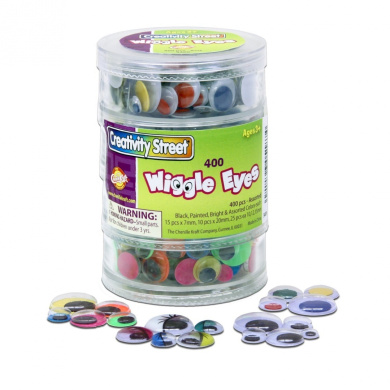 Chenille Kraft Wiggle Eyes 4 Tier Stacker 400-Piece Assorted, Black, Painted and Bright