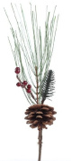 Set of 6 Pine Picks with Red Berries and a Pinecone - Each Measures 30cm