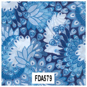 Decopatch Paper Ref 579 - Peacock Feathers (Blue/White/Dark Blue) Single Sheet