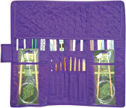 Yazzii Quilted Cotton Knitting Needle Case, Purple