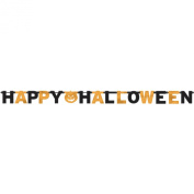 """""""Happy Halloween"""" Party Black and Orange Letter Banner with Pumpkin"""
