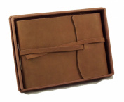 Rustic Genuine Leather Photo Album with Gift Box - Scrapbook Style Pages - Holds 60 4x6 or 5x7 Photos