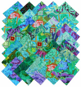Kaffe Fassett Philip Jacobs GARDEN GREENS Precut 13cm Cotton Fabric Quilting Squares Charm Pack Assortment Westminster Fibres Floral Flowers