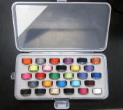 Bobbin Box Organiser with 28 Bobbins Threaded with Assorted Colour Thread