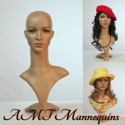 Realistic Female Mannequin Head with Base with 2 Wigs