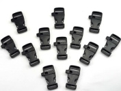 ERPower 30 Pcs 1.9cm Black plastic flat side release buckles with whistle