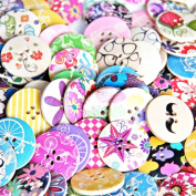 Pack of 25pcs Designeddesigned Super Fantastic Round Shaped Painted 4 Hole Wooden Buttons 30mm*30mm