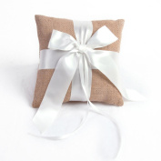 Elegant Linen with White Ribbon Ring Bearer Pillow