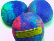 Ewesful Pincushion Large 13cm Round Multi Colour Felted Wool Pin Cushion