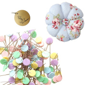 Rimobul Flat 4.8cm Flower Head Pins (100pcs) with Pin Cushion