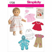 Simplicity 1708 Baby Doll Clothes Sewing Pattern, 38cm