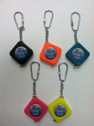 5 Pack Mini Tape Measure Keychain (Assorted Colours) - 0.9m x 0.6cm
