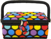 Home-X Polka Dot Sewing Basket with Sewing Kit Accessories