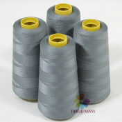4 Large Cones (3000 Yards Each) of Polyester Threads for Sewing Quilting Serger Grey Colour From Threadnanny