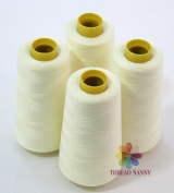 4 Large Cones (3000 Yards Each) of Polyester Threads for Sewing Quilting Serger Light Cream Colour From Threadnanny