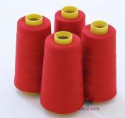 4 Large Cones (3000 Yards Each) of Polyester Threads for Sewing Quilting Serger RED Colour From Threadnanny