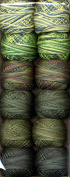 Valdani Size 12 Perle Cotton Embroidery Thread Two in Green Collection