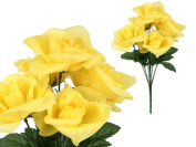 7-stem Large Roses, Artificial Flower, Yellow