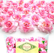 (100) Silk Two Tone Light Pink Roses Flower Head - 4.4cm - Artificial Flowers Heads Fabric Floral Supplies Wholesale Lot for Wedding Flowers Accessories Make Bridal Hair Clips Headbands Dress