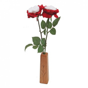 JustPaperRoses ® Cotton Roses 2nd Wedding Anniversary Gift, 2-Stem Bouquet and Wood Vase, Just Paper Roses