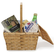 Bamboo Picnic Basket in Honey with Lid - Small