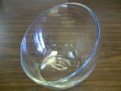 TBC Unique Slant Bowl, Vase, Candle Holder, Candy Dish. Clear Glass Slant Cut Bowl Vase. Slant Opens: 18cm . Height