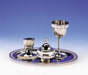 Highly Polished Non-Tarnishing Metal Havdalah Set with Mother of Pearl Design