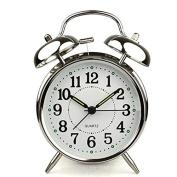 HITO™ 10cm Silent Quartz Analogue Twin Bell Alarm Clock with Nightlight and Loud Alarm