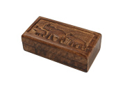 Diwali Gifts Country Style Hand Carved Keepsake Box Trinket Jewellery Organiser with Elephant Design