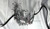 Red Diamond Swan Black Laser Cut Venetian Masquerade Mask
