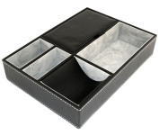 25cm Black Leatherette Valet Tray - 5 Compartments
