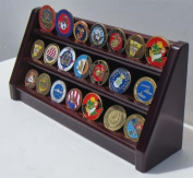 3 Rows Challenge Coin / Casino Chip Display Rack Holder, Mahogany Finish Coin18-MA