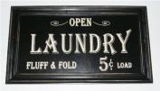Open...Laundry Fluff & Fold 5 cents Load Vintage Look Framed Wood Sign
