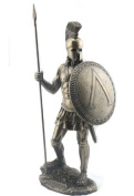Spartan Warrior with Spear and Hoplite Shield Statue Sculpture